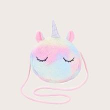 Bolsa bandolera mullida de niñas con diseño de unicornio de dibujos animados