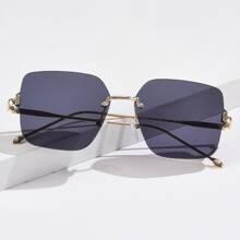 Sonnenbrille mit quadratischen Glaesern ohne Rahmen
