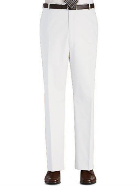 Colored Pants Trousers Flat Front Regular Rise Slacks White 69