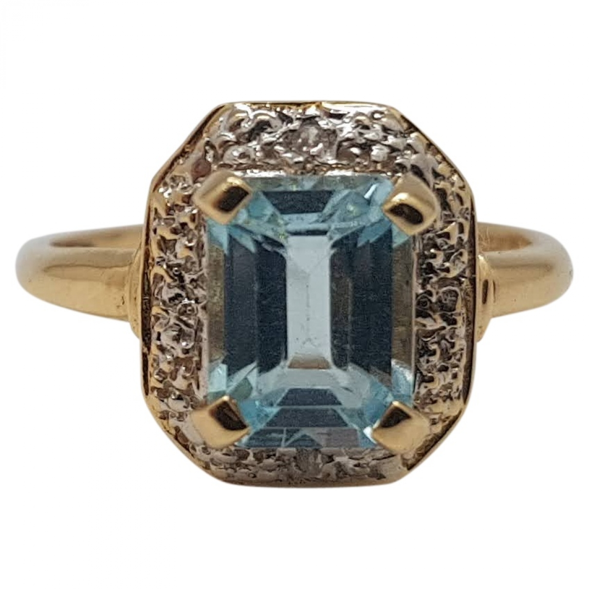 Non Signe / Unsigned Aigues-Marines Ring in  Blau Gelbgold