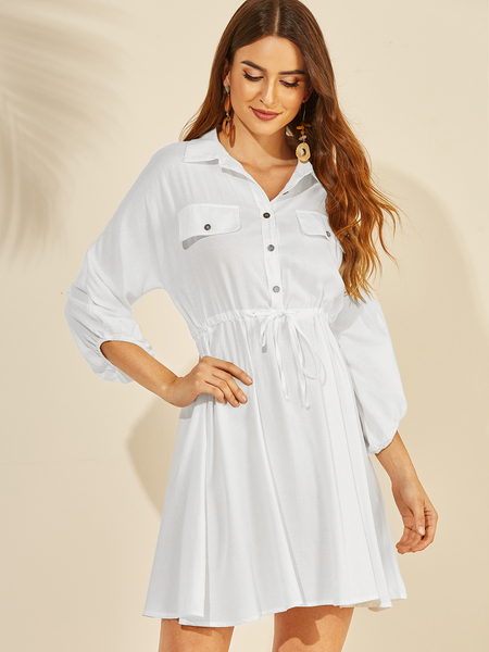 YOINS White Button Design Lapel Collar Drawstring Waist Dress