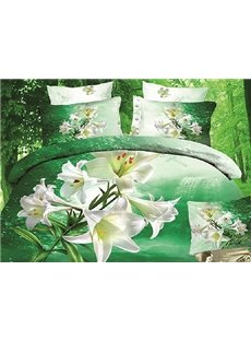3D Whited Trumpet Lily Printed Cotton 4-Piece Green Bedding Sets/Duvet Covers