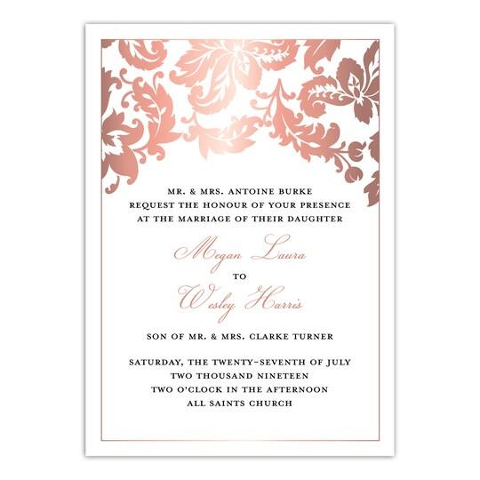 20 Pack of Martha Stewart Skylands Damask Foil Personalized Wedding Invitation in Rose Gold | 5
