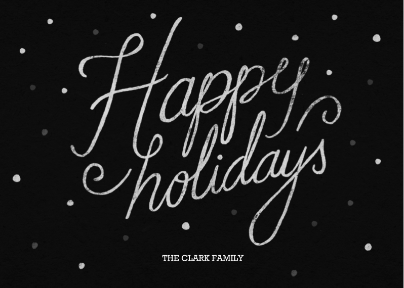 Holiday Photo Cards 5x7 Cards, Premium Cardstock 120lb with Rounded Corners, Card & Stationery -Happy Holidays Chalk