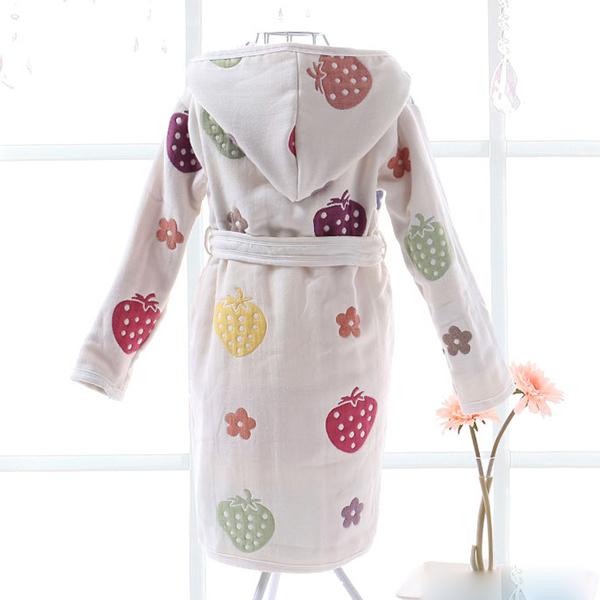 Cute Colorful Strawberry Pattern Cotton Kids Robe