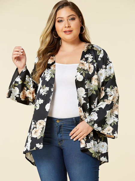YOINS Plus Size Black Random Floral Print Long Sleeves Kimono