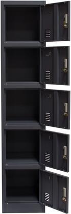 LB5GR 5-Door Metal Storage Locker Cabinet with Key Lock Entry in