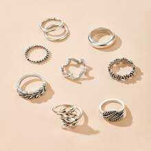 9 Stuecke Blatt Design Ring