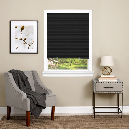 1-2-3 Window Cut-to-Width Cordless Room Darkening Pleated Shades, One Size , Black