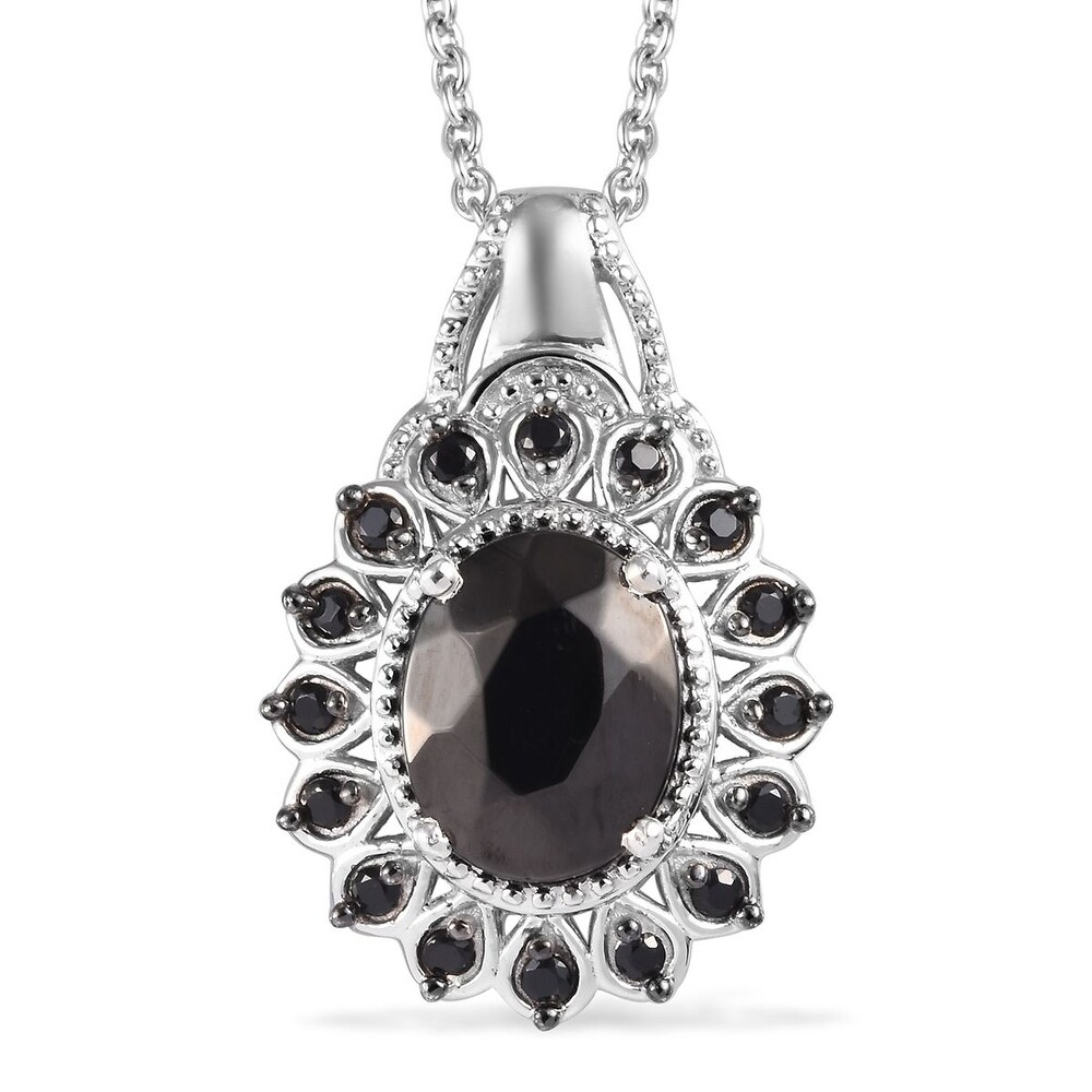 925 Silver Shungite Spinel Pendant Necklace Size 20 Inch Ct 1.9 - Size 20 (Size 20)