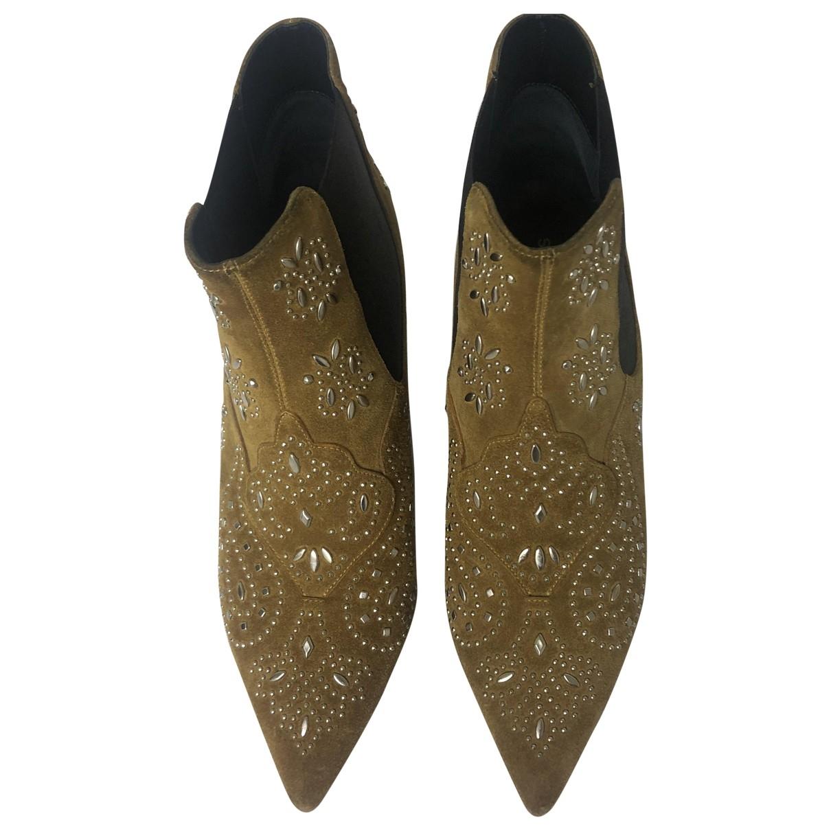 Saint Laurent Charlotte Beige Suede Ankle boots for Women 37 EU
