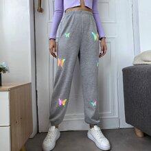 Pantalones con estampado de mariposa