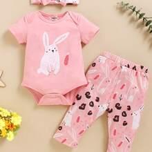 Toddler Girls Cartoon Rabbit Bodysuit & Pants & Headband