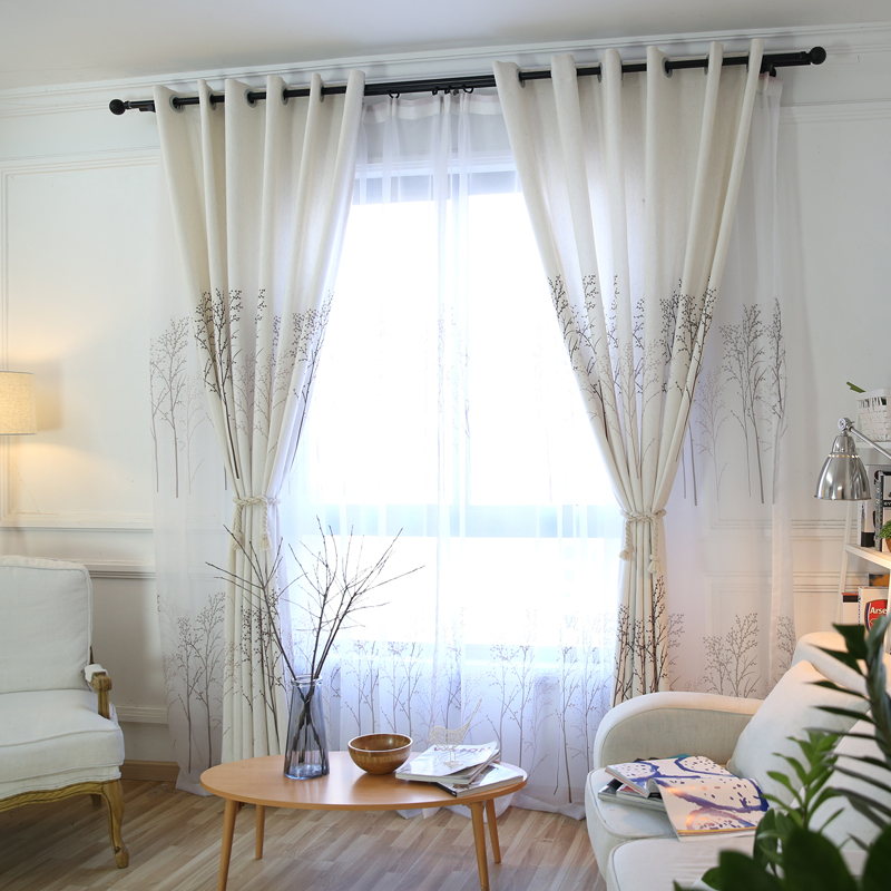 Modern Twig Print Custom Living Room Sheer Curtains Breathable Voile Drapes Environmentally Friendly Printing and Dyeing No use of Chemical Auxiliary