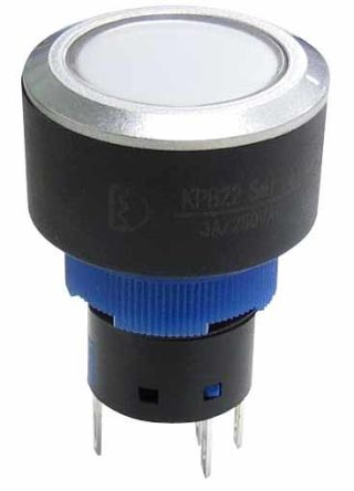 RS PRO Single Pole Double Throw (SPDT) Momentary Push Button Switch, IP65, 22.2 (Dia.)mm, Panel Mount, 250V ac (20)