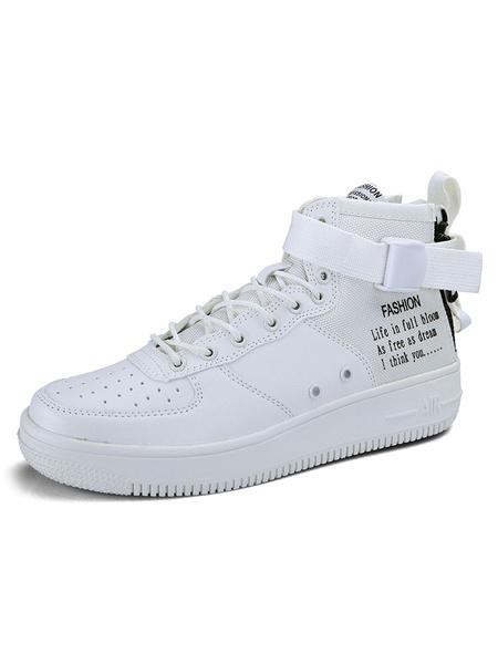 Milanoo Zapatillas de deporte para hombre Zapatos de hombre con estampado de letras de malla con punta redonda y puntera redonda