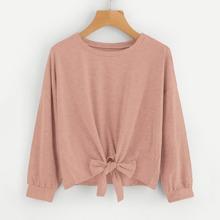 Drop Shoulder Knot Front Sweatshirt