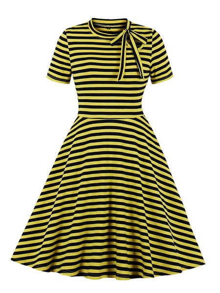 Milanoo Vintage Dress Womens Stripes Jewel Neck Short Sleeve 1950s Rockabilly Swing Retro Dresses