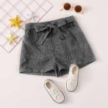 Shorts in Leinenoptik mit Selbstguertel und Manschetten