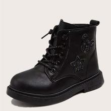 Girls Side Zip Combat Boots