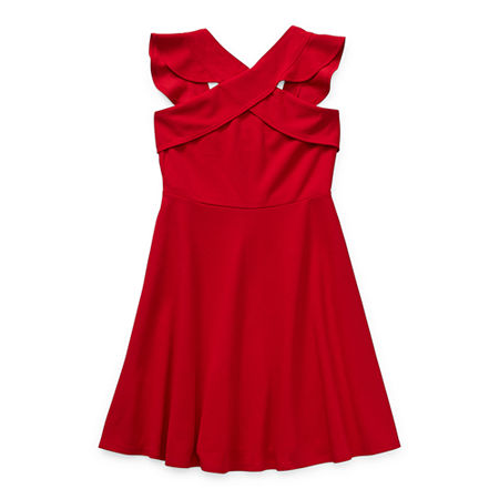 Emerald Gumdrops Big Girls Sleeveless Skater Dress, 16 , Red