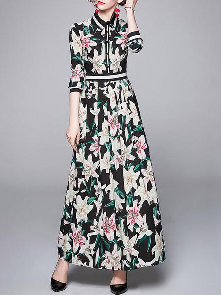 Milanoo Maxi vestidos de 3/4 longitud de las mangas de cuello de cobertura longitud vestido de gasa hasta el suelo Negro Impreso