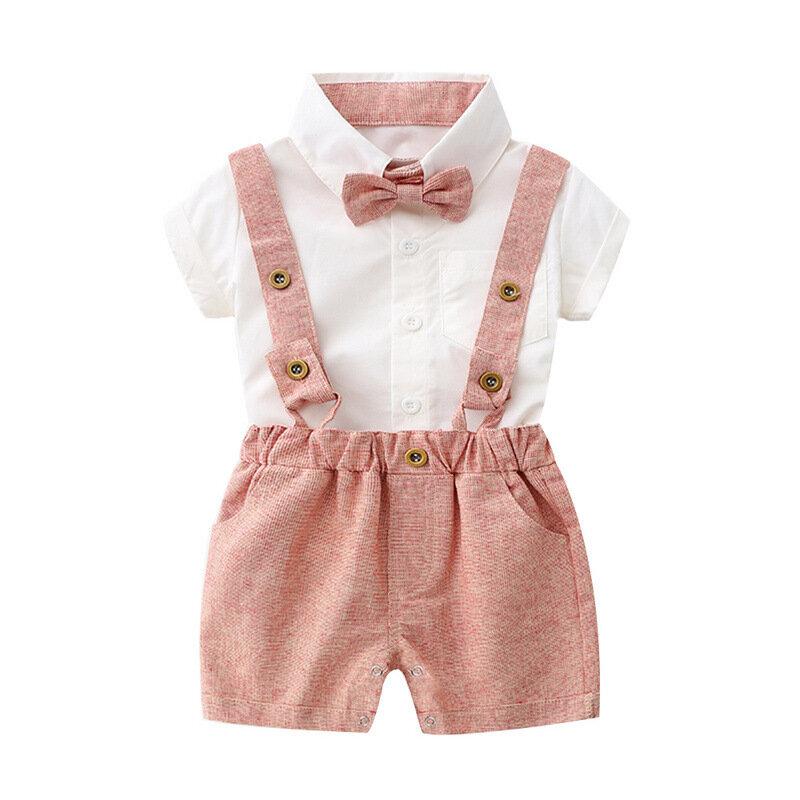 Tied Little Gentleman Boys Suspender Clothing Sets For 0-24M
