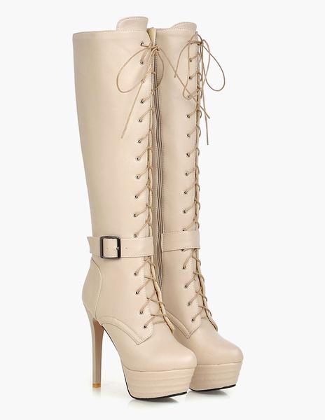 Milanoo Charol PU de puntera redonda Botas altas mujer Marron botas altas negras 11cm de tacon de stiletto con cordones Primavera Invierno con cinta