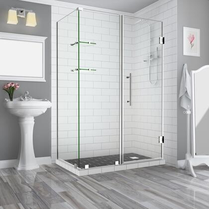 SEN962EZ-CH-633332-10 Bromleygs 62.25 To 63.25 X 32.375 X 72 Frameless Corner Hinged Shower Enclosure With Glass Shelves In