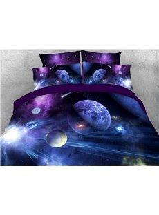 Purple Galaxy Bedding Soft Lightweight 3D Planets Duvet Cover Set 4-Piece Bedding Set