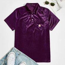 Samt Polo Shirt mit Raglanaermeln und Taschen Flicken