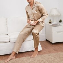 Men Solid Button Front Satin Pajama Set