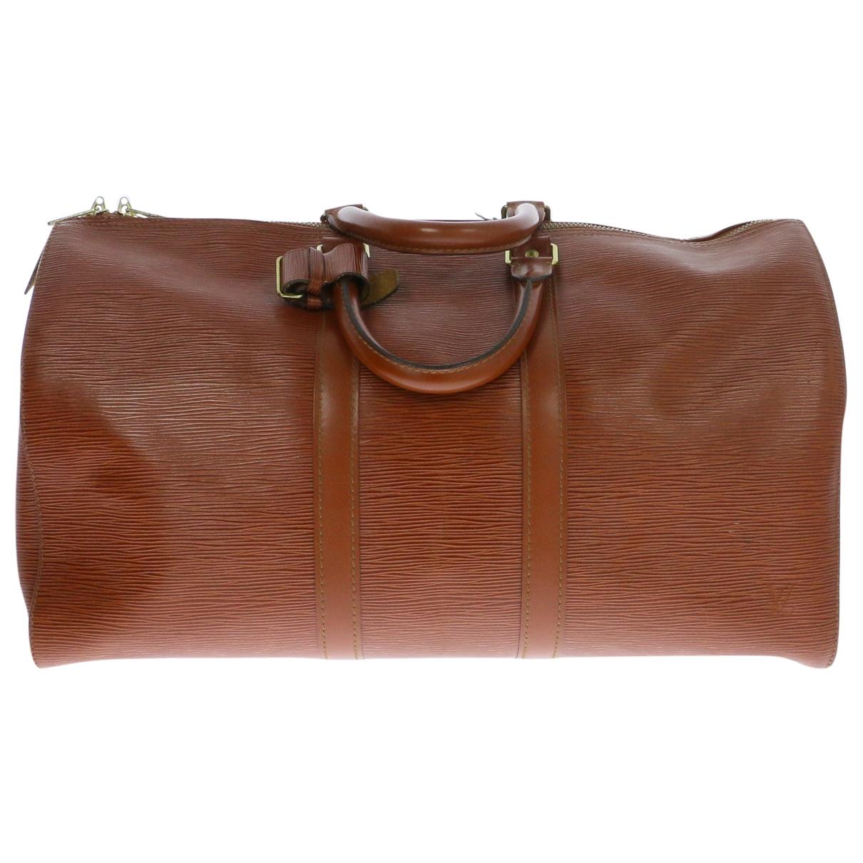 Louis Vuitton - Sac de voyage Keepall pour femme en cuir - marron