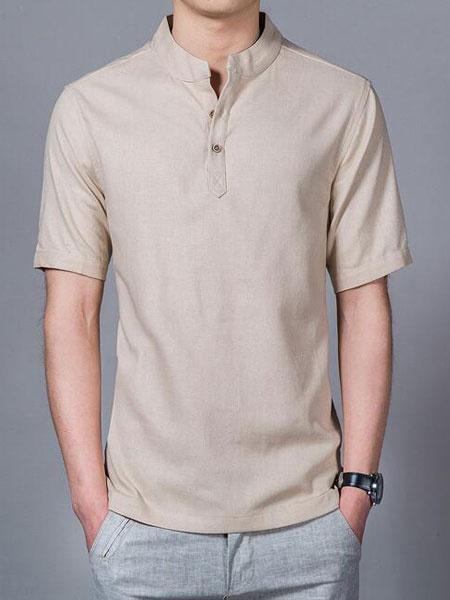 Milanoo Los hombres de verano mas el tamaño relajado ajuste de manga corta camiseta de cuello alto camisa de algodon de lino