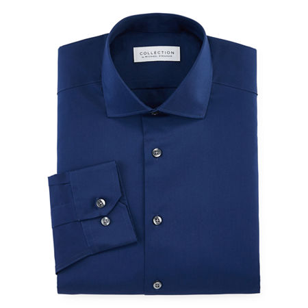 Collection By Michael Strahan Mens Long Sleeve Dress Shirt, 16.5 34-35, Blue