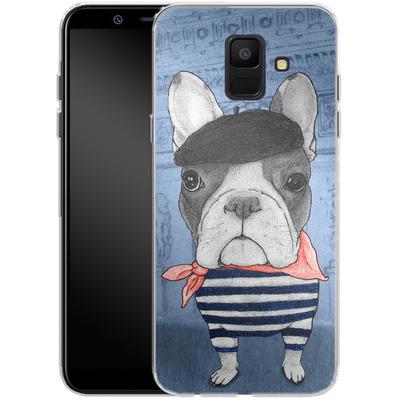 Samsung Galaxy A6 Silikon Handyhuelle - French Bulldog with Arc de Triomphe von Barruf