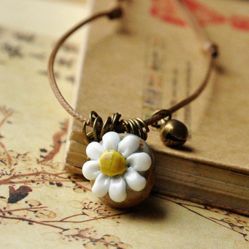 Vintage Geometric Stereoscopic Flower Pendant Necklace Ethnic Handmade Ceramic Long Necklace