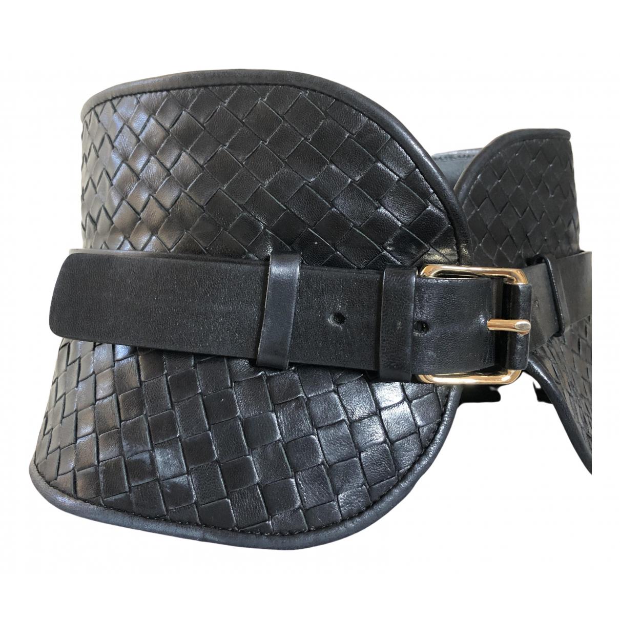 Bottega Veneta N Black Leather belt for Women 75 cm