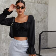 Flounce Sleeve Knot Front Ruched Bust Crop Top