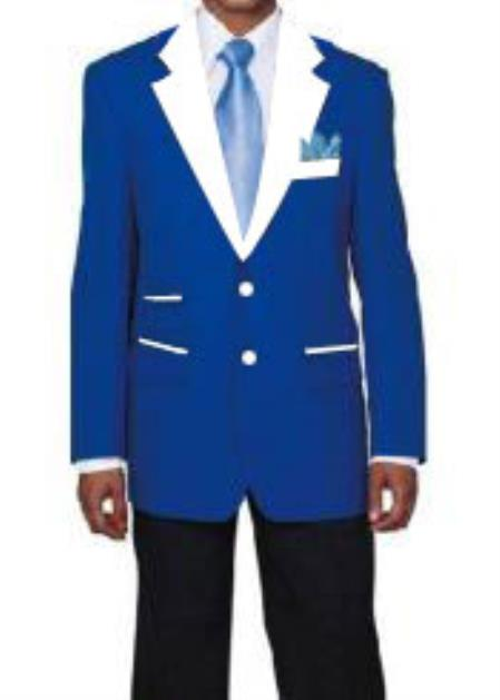 Mens 2 Buttons Blue and White Lapel Tuxedo Suit Single Breasted Blazer