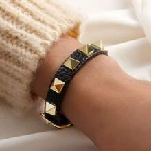1pc Studded Faux Leather Strap Buckle Bracelet