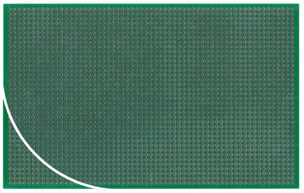 Roth Elektronik RE212-LFDS, Double Sided Eurocard PCB FR4 With 38 x 61 1mm Holes, 2.54 x 2.54mm Pitch, 160.15 x 100.2mm