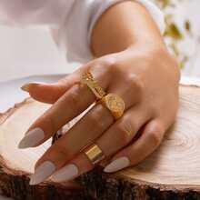 3 Stuecke Ring mit Strass & Buchstaben Dekor