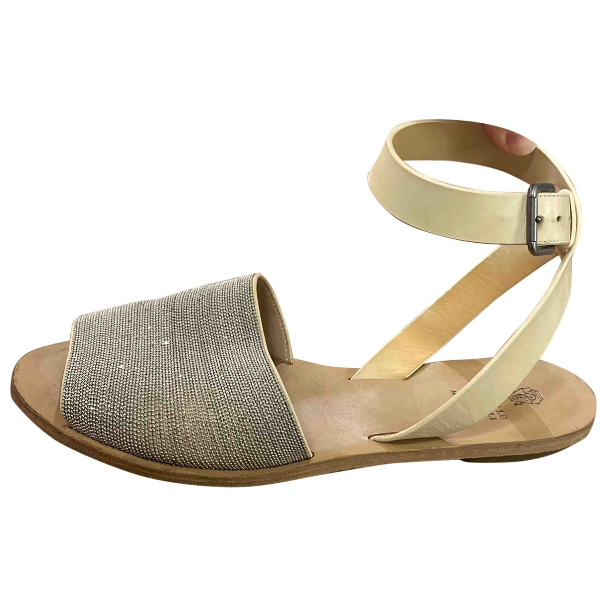 Brunello Cucinelli \N Silver Leather Sandals for Women 39 IT