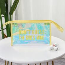 1pc Slogan Graphic Holographic Travel Makeup Bag