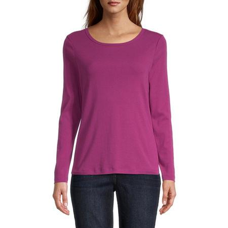 St. John's Bay-Womens Long Sleeve T-Shirt, Petite Xx-large , Pink