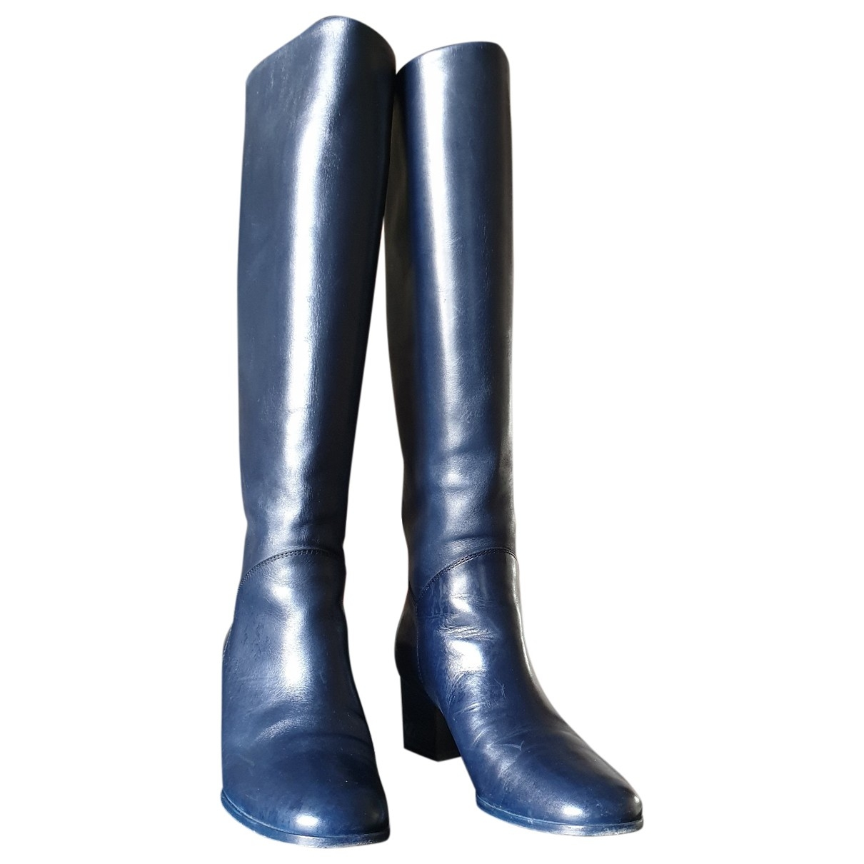 Chanel \N Navy Leather Boots for Women 37.5 EU