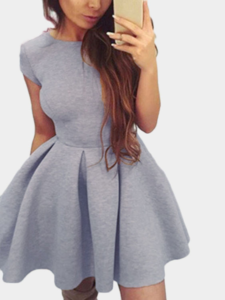 Yoins Grey Tight-waist Open Back Mini Dress