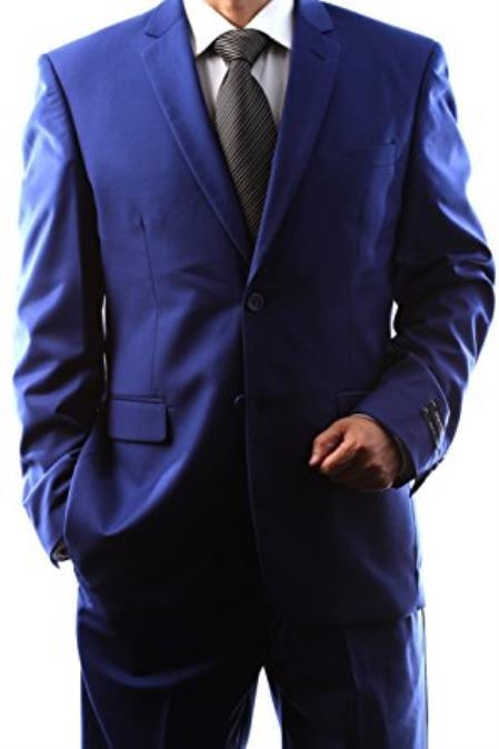 Braveman Men's Single Breasted 2 Button Navy Blue Slim Fit Dress Suit