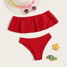 Maedchen Rueschen Bardot Bikini Set